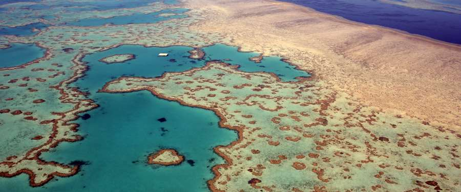 The Great Barrier Reef of het grote barrière rif. Een van de grootste koraalriffen ter wereld.