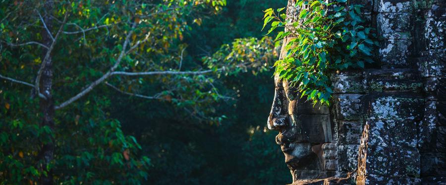 De mooie Bayon tempel, de tweede grootste van het gigantische Angkor park.
