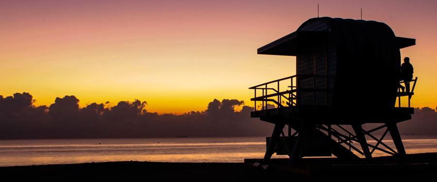 De zonsondergang op Miami Beach is iedere avond opnieuw iets om naar uit te kijken.