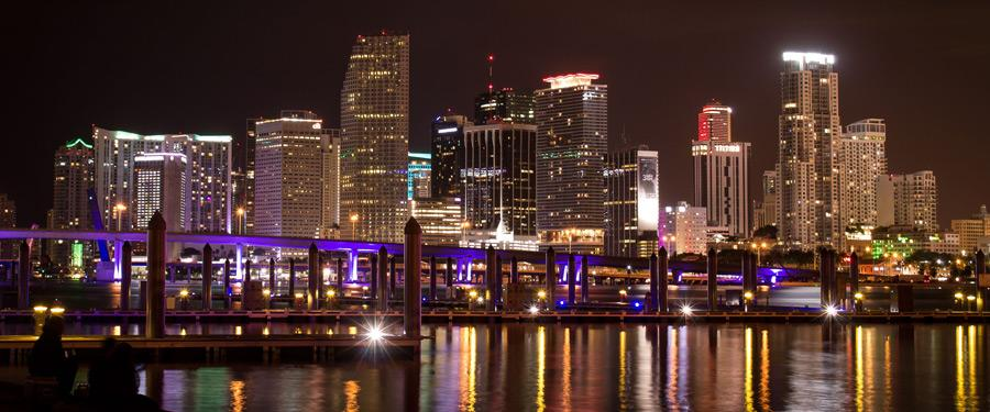 De skyline van Miami is op z'n zachtst gezegd imposant!