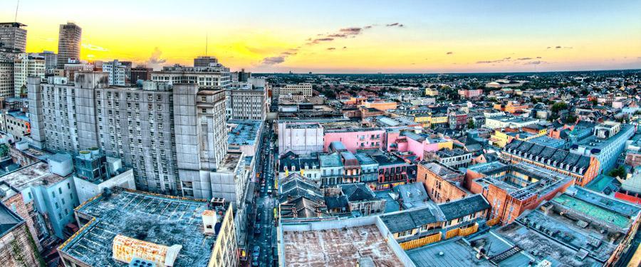 De charme van New Orleans lijkt wel verdwenen bij deze foto, maar geloof me... New Orleans is hemels!
