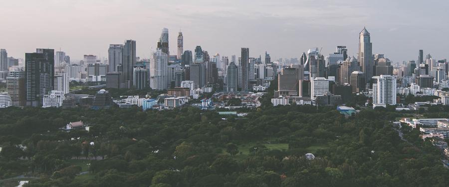 De skyline van Bangkok. Een wereldstad met heel wat groen!