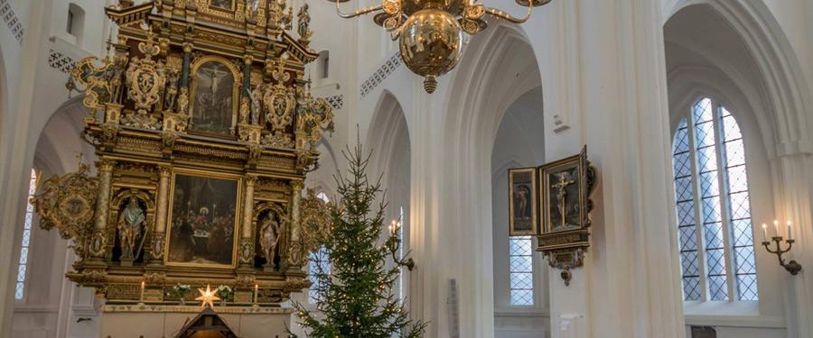 Het mooie interieur van de Sint-Petri Kyrka in Malmö.