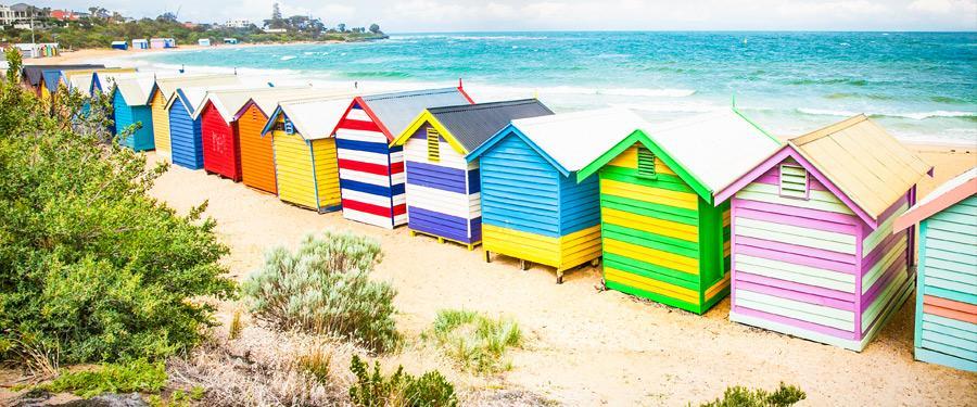 Strandhutten fleuren de zeeën rond Melbourne op!