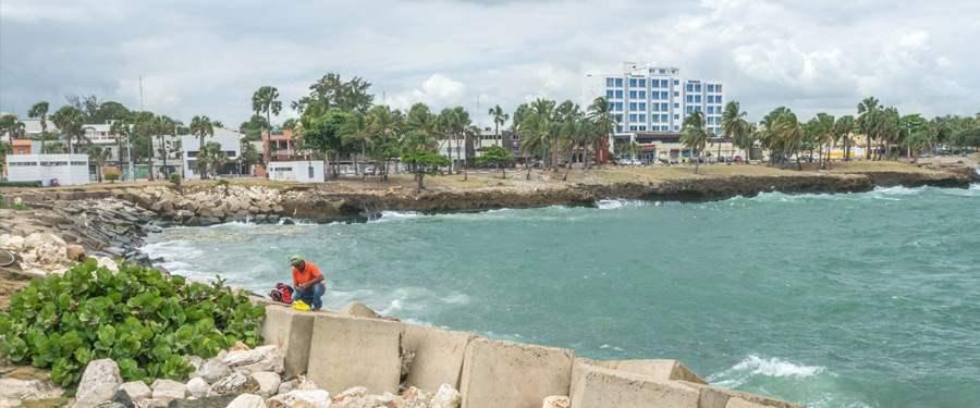 de Malecon (de dijk) van Santo Domingo.