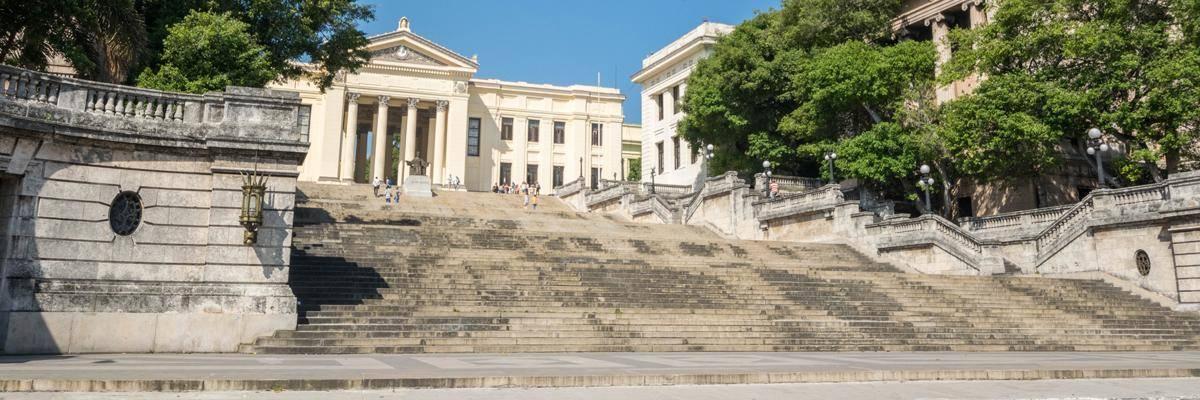 De universiteit van Havana. Scholen zijn volledig gratis in Cuba.