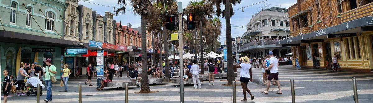 De winkelstraat van Manly Beach.