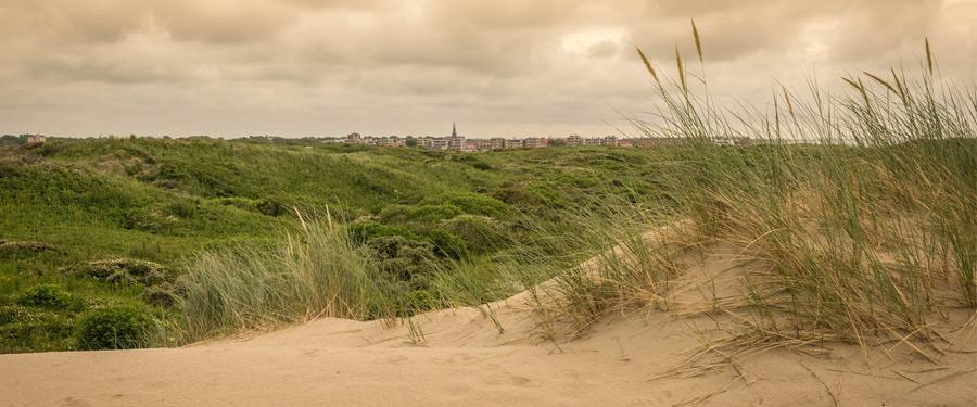 De duinen op de voorgrond, en Katwijk op de achtergrond.