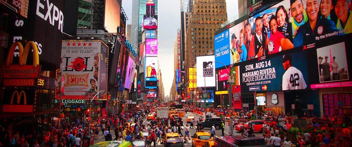 Times square in New York, wellicht één van de bekendste attracties.