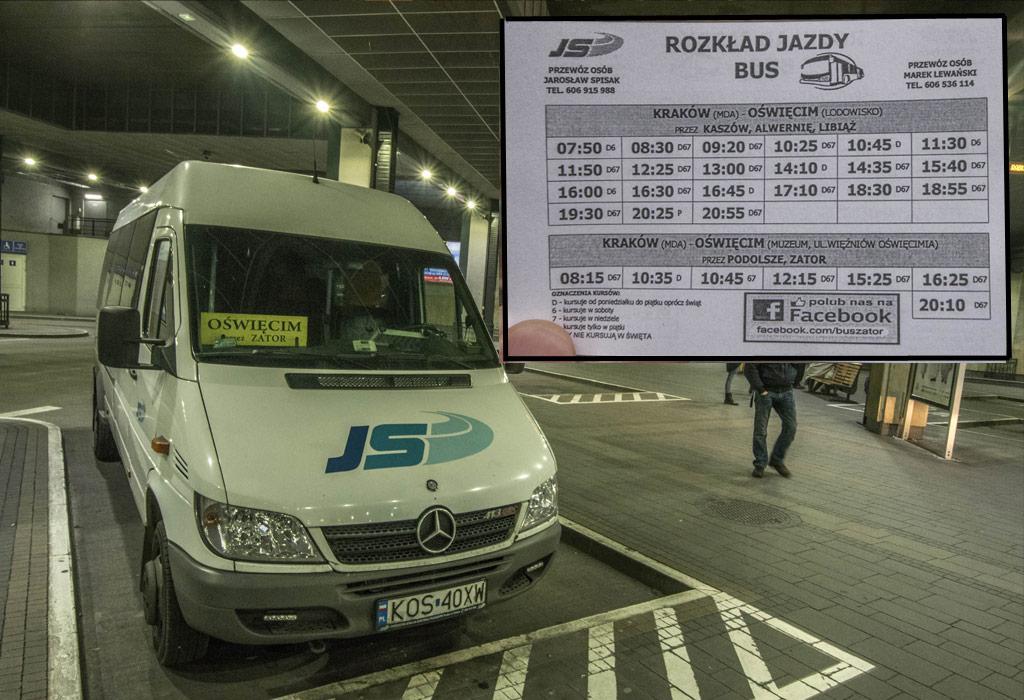 De JS bus van Krakow Glowny naar Oswiecim Museum met de tijdstabel er naast.