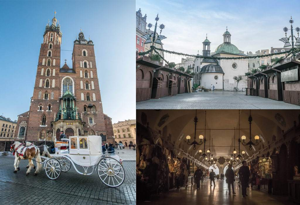Enkele bezienswaardigheden van de oude binnenstad in Krakau.
