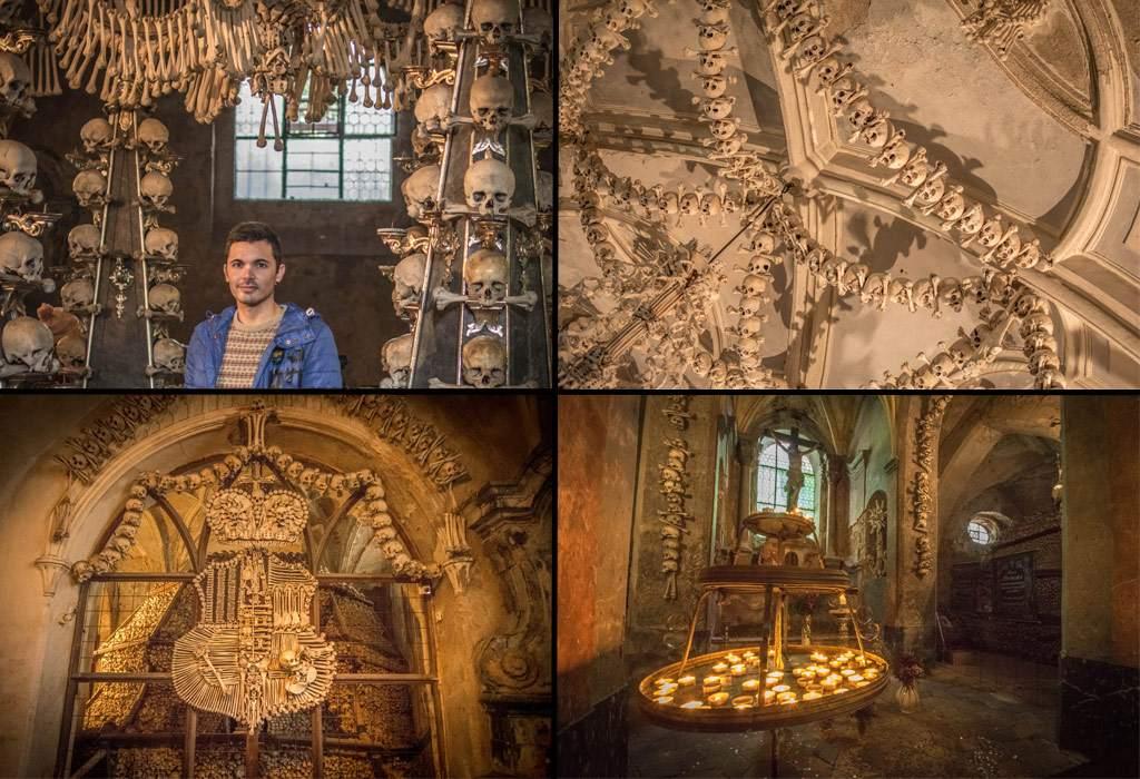 Enkele sfeerbeelden van de Sedlec kapel in Kutna Hora.