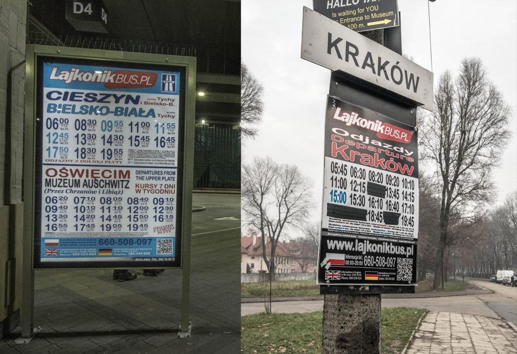 De frequente Lajkonik bussen van Krakow Glowny naar Oswiecim museum.
