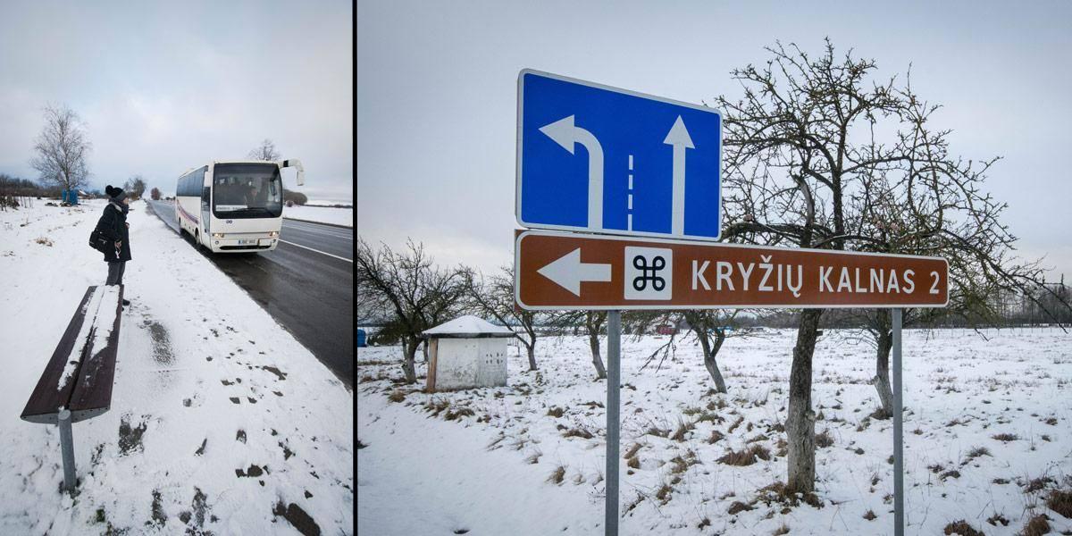 """De weg naar """"Kryziu Kalnas"""" is niet heel goed aangegeven, maar vlak voor je er bent is er wel wat bewegwijzering. Links zie je de busstop om terug naar Siauliai terug te keren."""