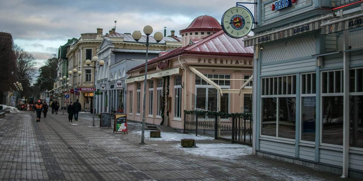 De boulevard van Jurmala. Ik kan me inbeelden dat het hier tijdens de zomer heel druk is!