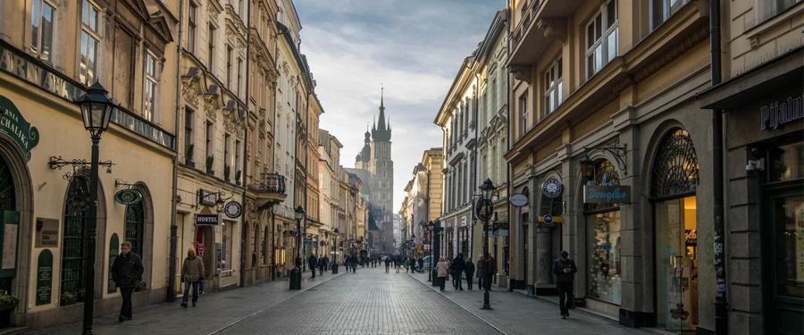 De winkelstraten in Stare Miasto, het oude stadsgedeelte van Krakau.