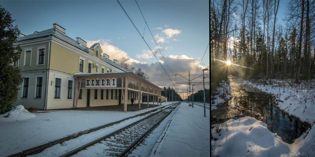 Links zie je het treinstation van Kemeri. Rechts zie je een tafereel uit de zijweg die je kan nemen richting het park.
