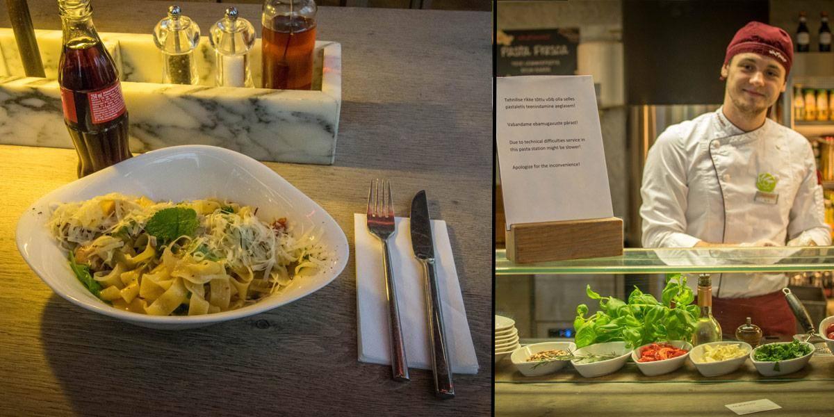 De Vapiano keten heeft lekker Italiaans eten. Hier zie je mijn pasta met kip en een munt / gember sausje.