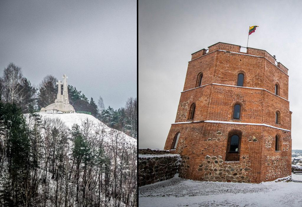 De drie kruisen met recht daar tegenover de Gediminas toren. Van op deze heuveltop krijg je een mooi uitzicht over de stad.