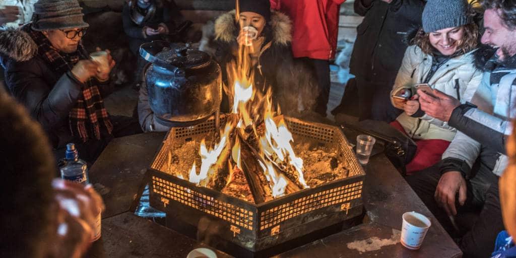 opwarmen in noorwegen open vuur