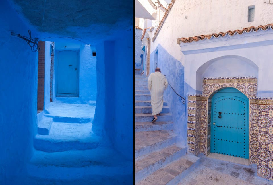 blauwe stad van marokko