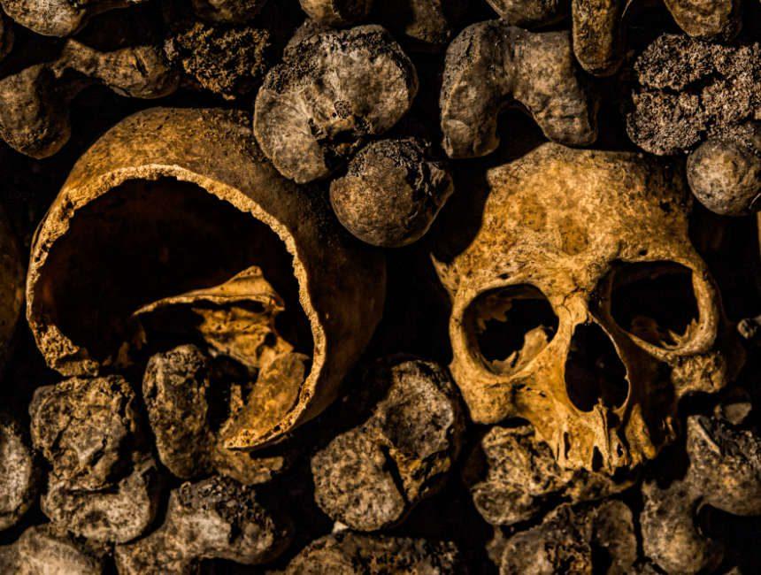 schedels, beenderen, knoken catacomben van parijs skeletten