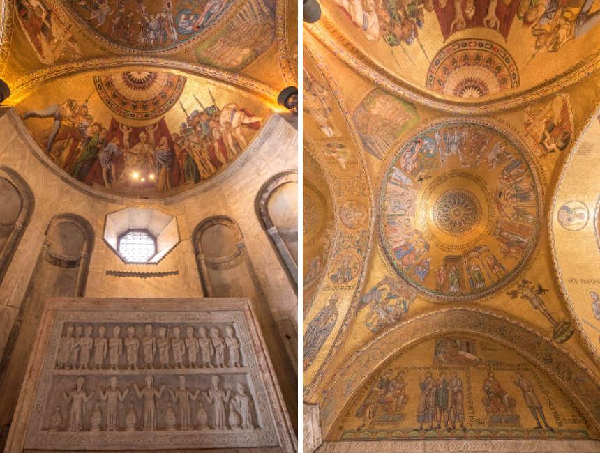 binnenkant basiliek san marco vanbinnen gouden plafond