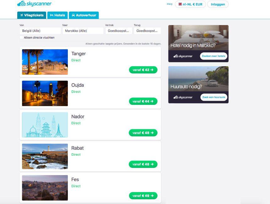 goedkope vluchten marokko skyscanner