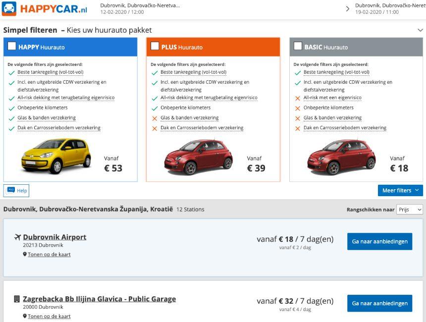 Happy Car rondreis Kroatie goedkope autohuur