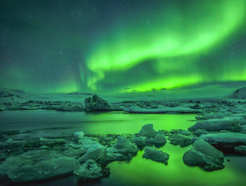 noorderlicht Jökulsárlón gletsjermeer