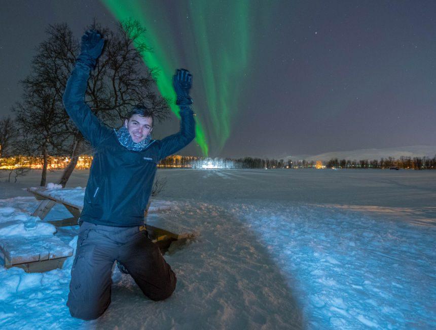 aurora borealis selfie noorderlicht