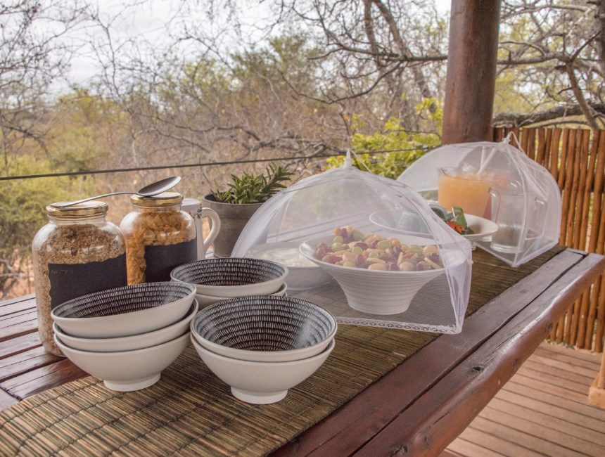 ontbijt Sausage Tree Safari Camp Kruger accommodaties