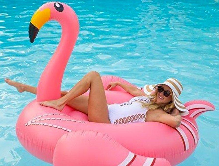 Gigantische flamingo zwemband