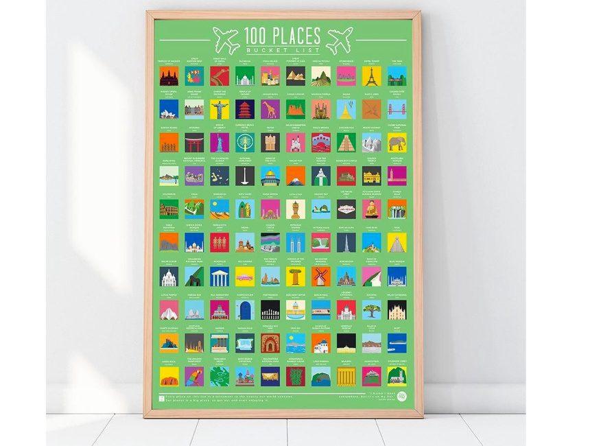 cadeaus voor reizigers 100 places bucket list kalender