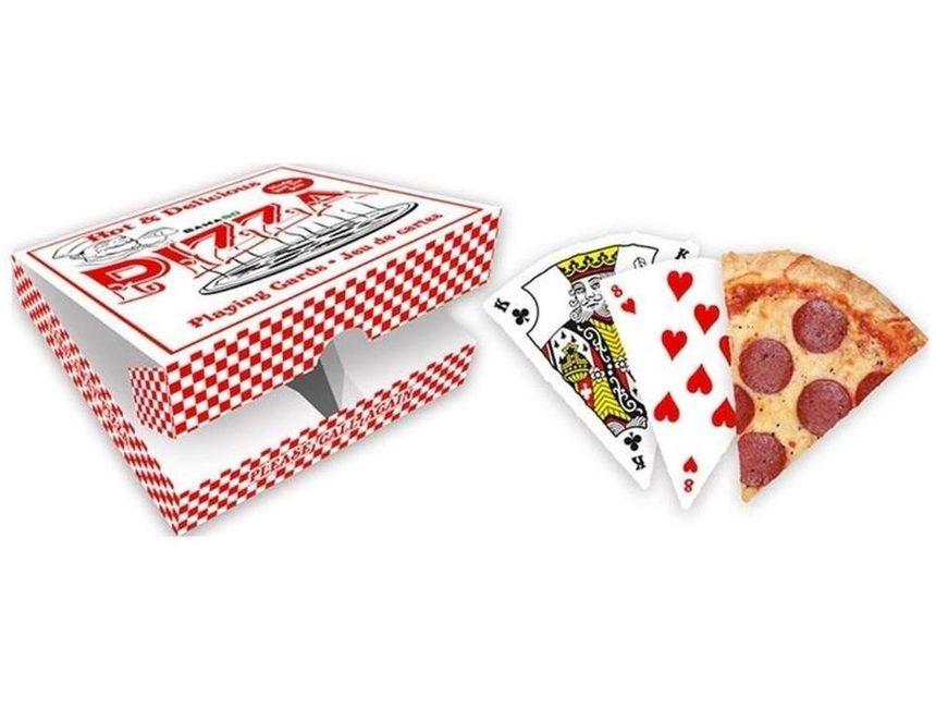 cadeaus voor reizigers Pizza speelkaarten