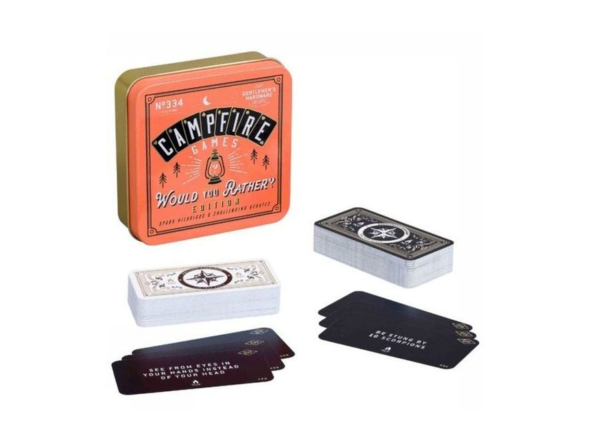 cadeaus voor reizigers Would you rather kampvuur kaartspel