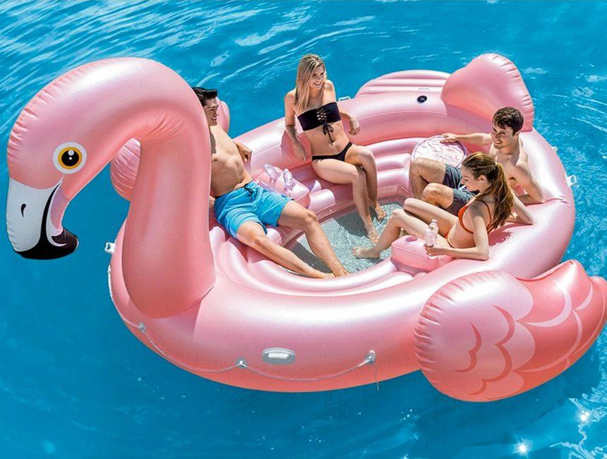 opblaasbaar eiland flamingo