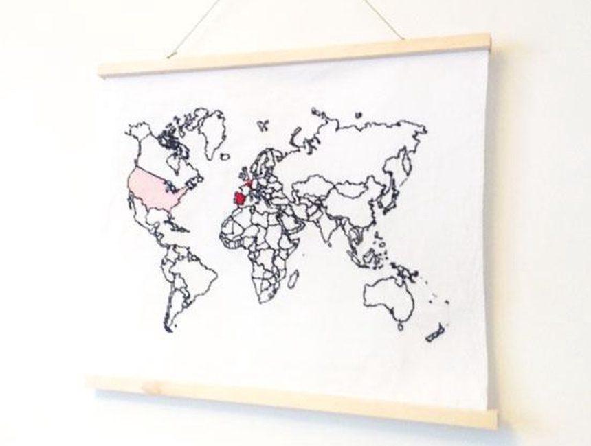 Wereldkaart borduurpakket