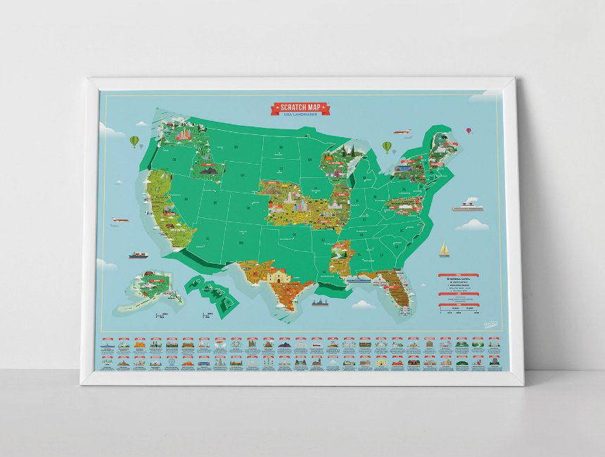 USA kraskaart reiscadeau huwelijksverjaardag