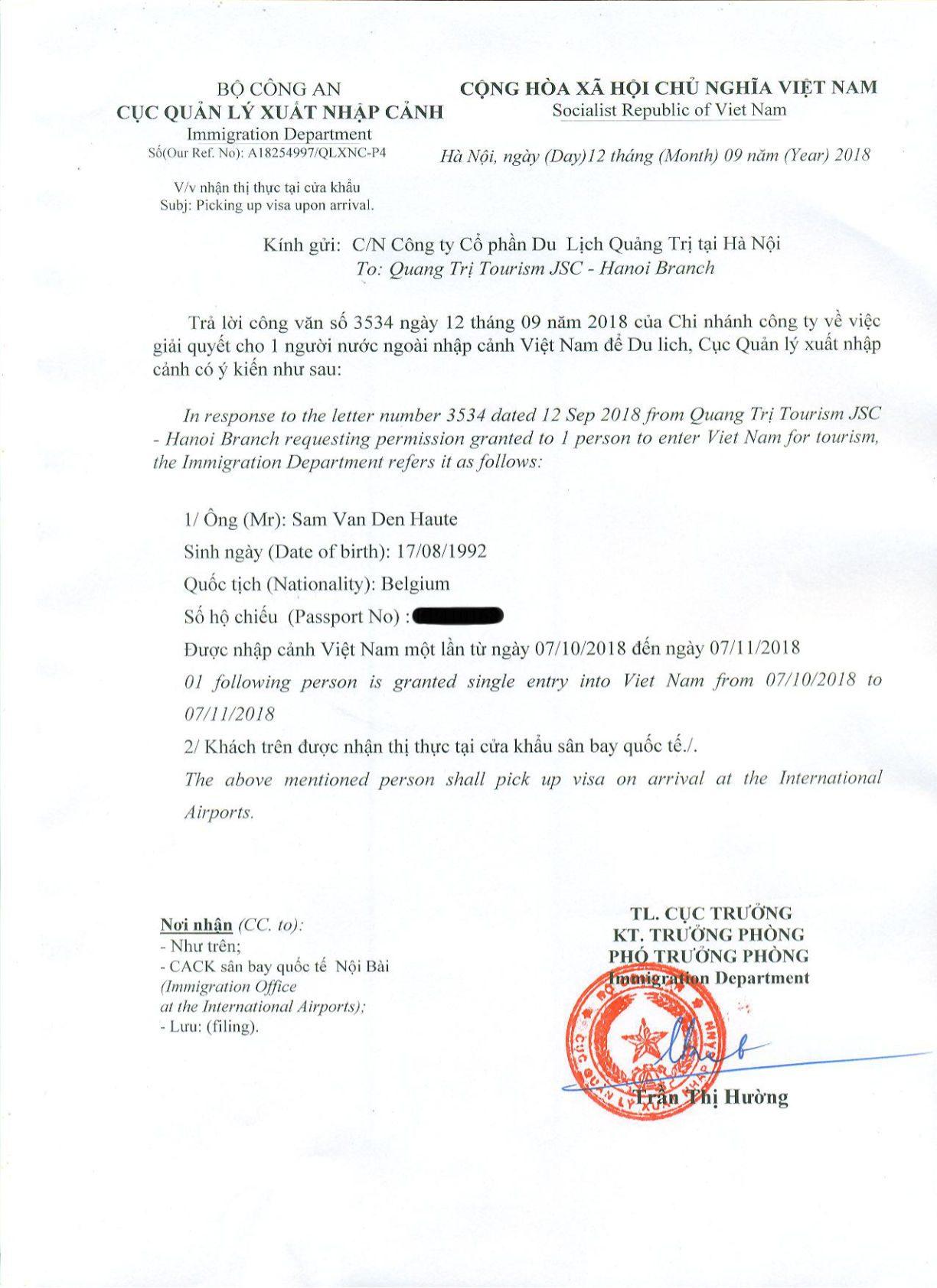 voorbeeld voa vietnam visum