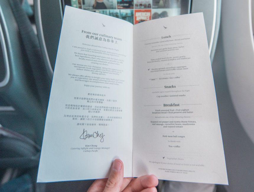 Cathay Pacific menu